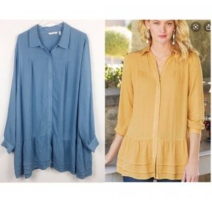 Soft Surroundings | Blue oversized tunic peplum 2X